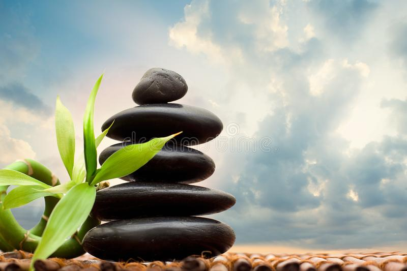 Zen concept with bamboo and stone - alternative medicine and treatment stock photo