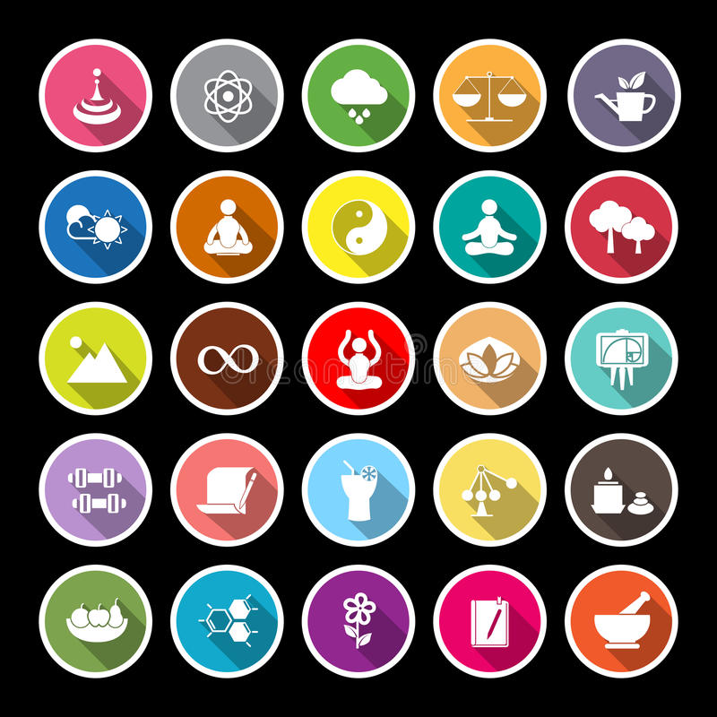 Zen concept flat icons with long shadow royalty free illustration