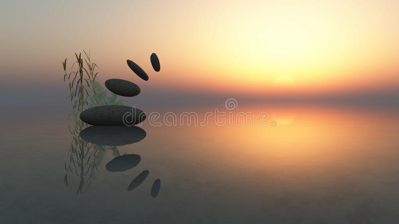 Zen. 3d image zen stones and sea