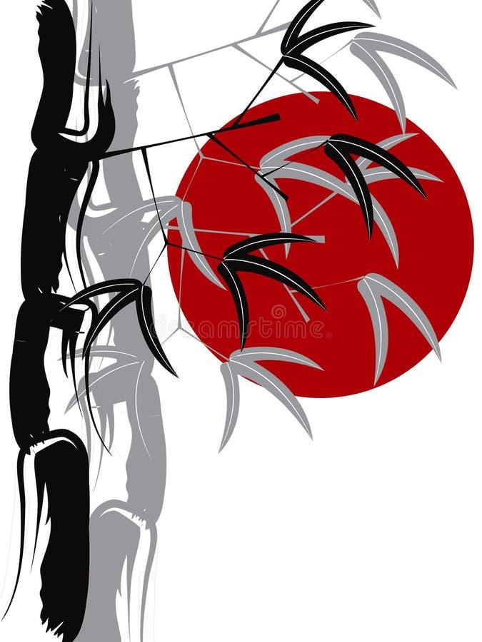 Zen de bambu caligráfico ilustração do vetor