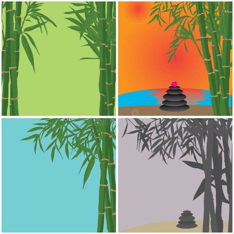Zen de bambu dos termas do cartão ilustração do vetor