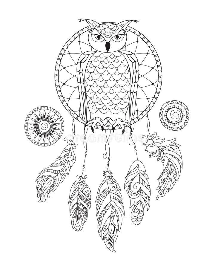 Zen deseniował dreamcatcher z sową dla dorosłej kolorystyki ilustracja wektor