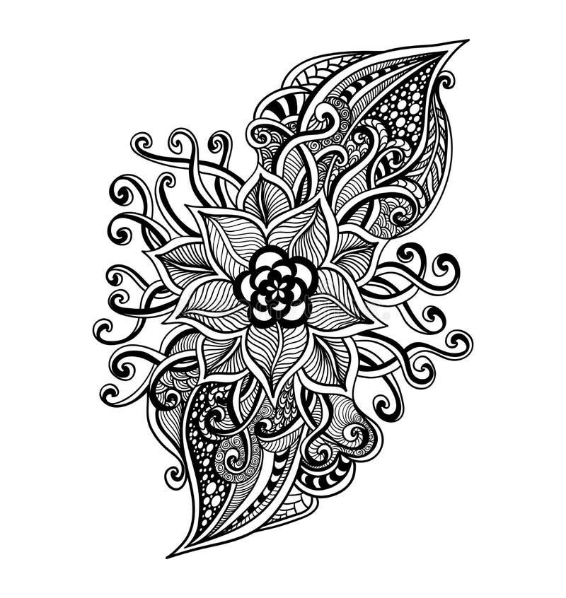 Zen Doodle Decorative Flower Black On White Stock Vector