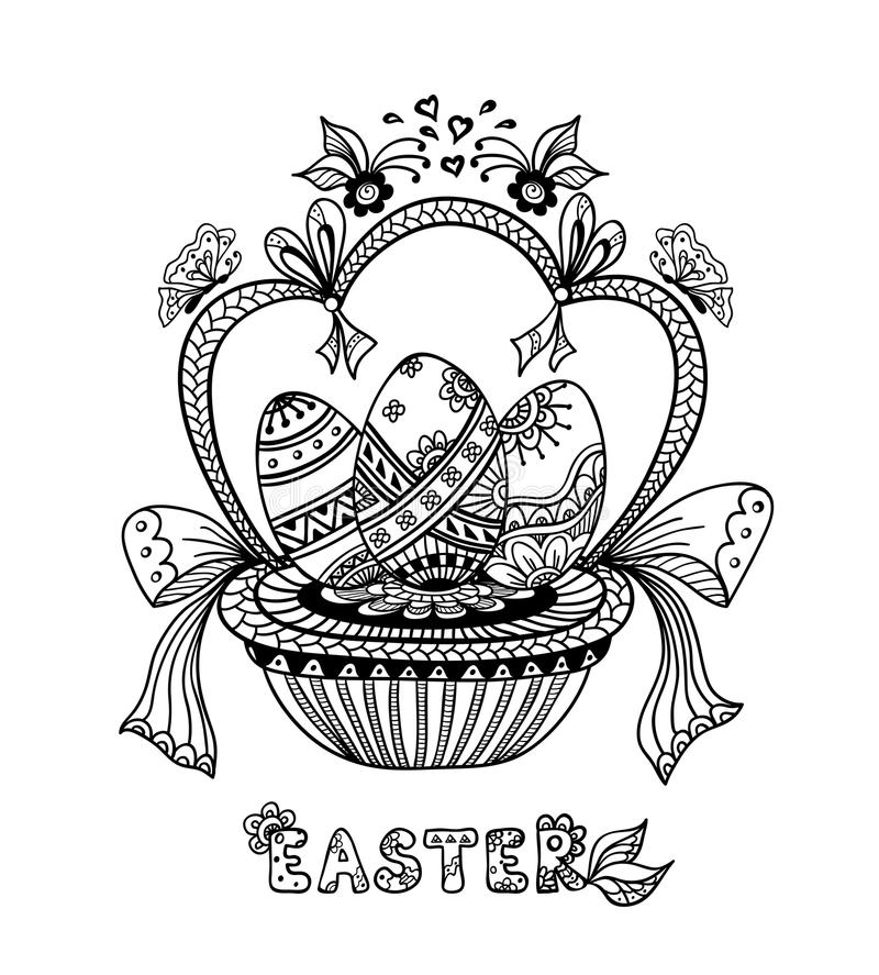 Zen-doodle Easter Eggs in basket black on white. For coloring page or relax coloring book or wallpaper background or creative Post Card for celebration Easter royalty free illustration