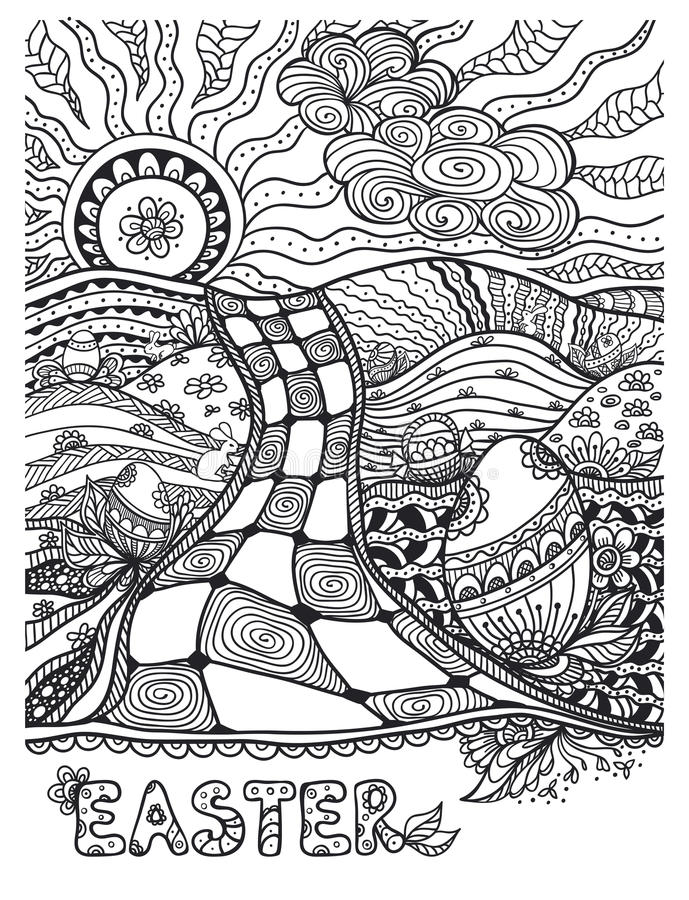 Zen-doodle Easter landscape black on white. Zen-doodle Easter landscape with Eggs rabbits black on white for coloring page or relax coloring book or wallpaper stock illustration