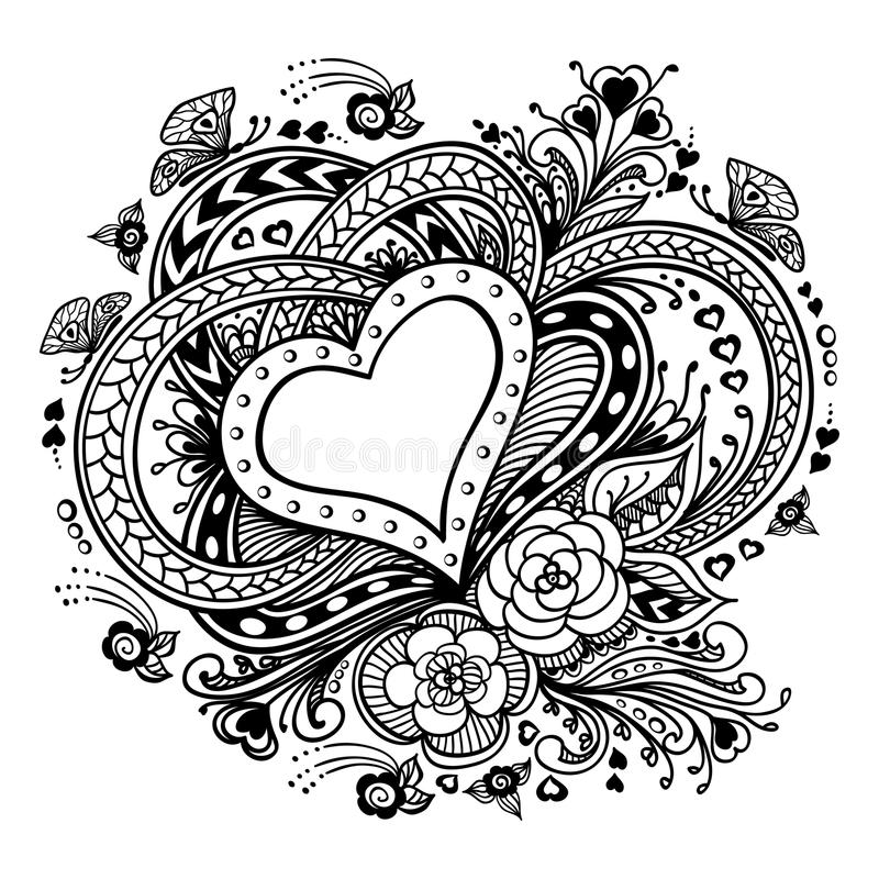 Download Zen Doodle Heart Frame With Flowers Butterflies Black On White Stock Vector