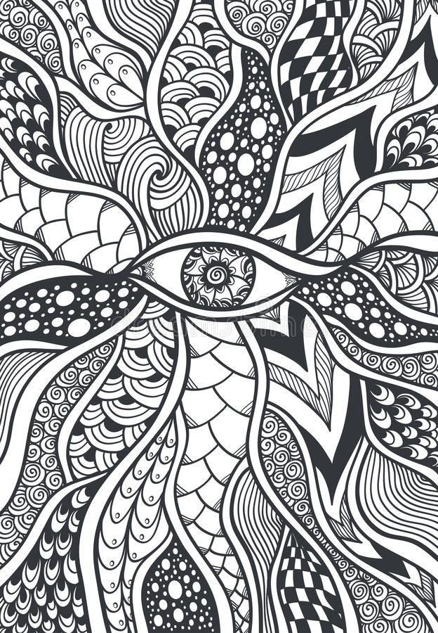 Zen-doodle Or Zen-tangle Texture Or Pattern With Eye Black On White ...