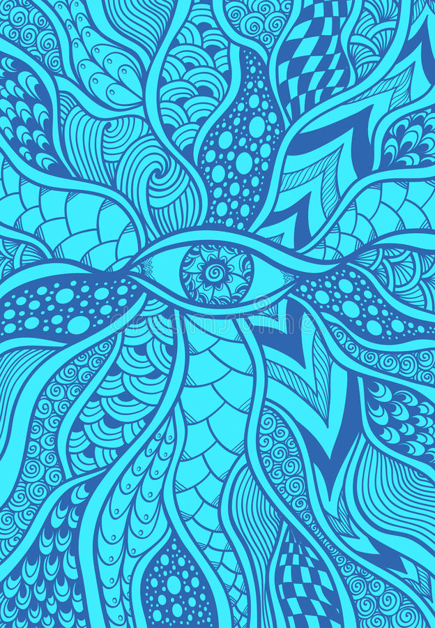 Download Zen Doodle Or Tangle Texture Pattern With Eye In Blue Stock