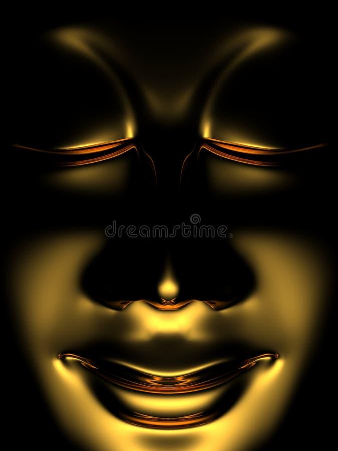Zen dorato buddha nei 01 scuri fotografia stock libera da diritti