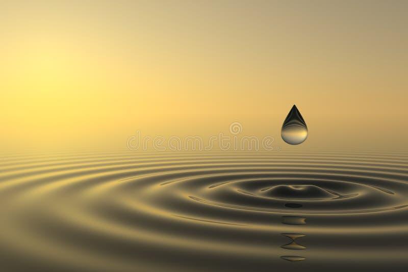 Zen drop falls into the water vector illustration