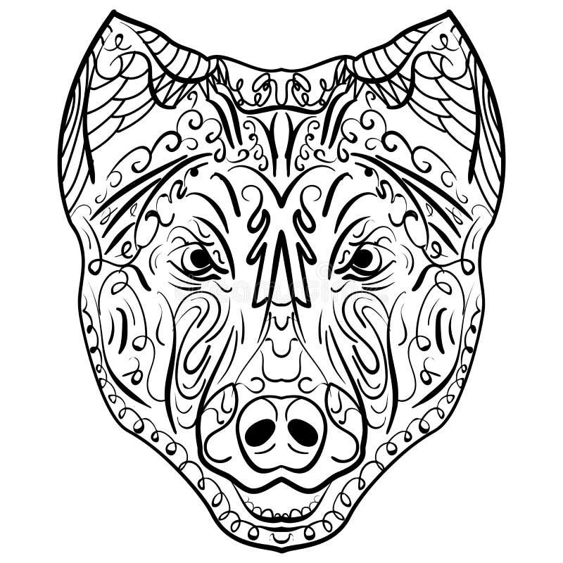 Zen-embrouillement noir et blanc de tête de chien de croquis illustration stock