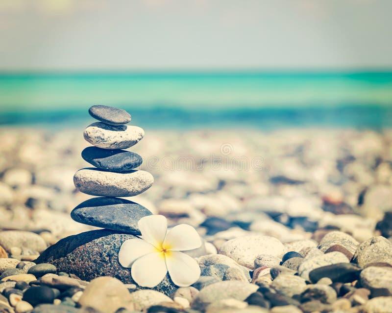 Zen evenwichtige stenenstapel met plumeriabloem stock afbeelding