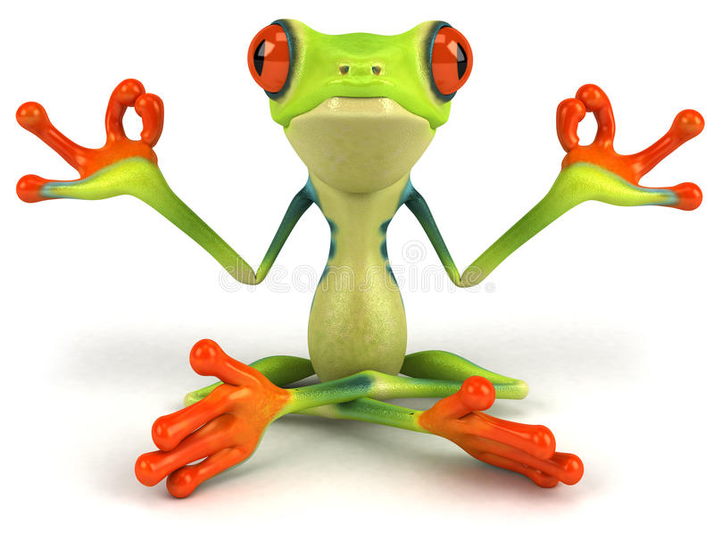 Zen Frog. Cute little frog, 3D generated picture