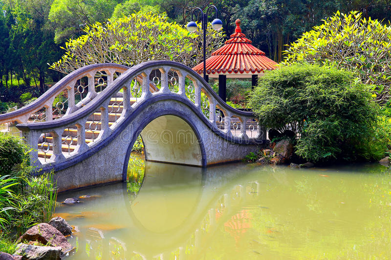 Zen garden with arch shape bridge stock photography