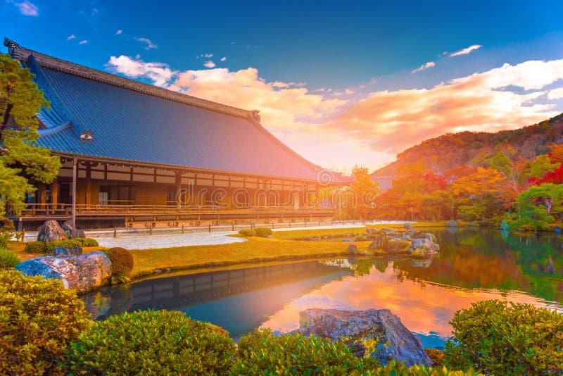 Zen garden in autumn season at Tenryuji temple, Kyoto, Japan royalty free stock photo