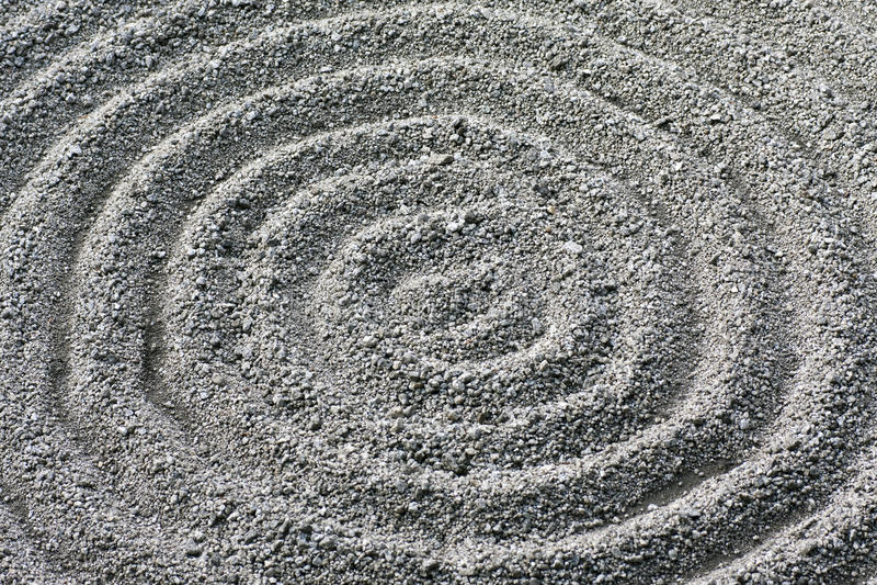 Zen garden circular raked gravel pattern detail stock photography