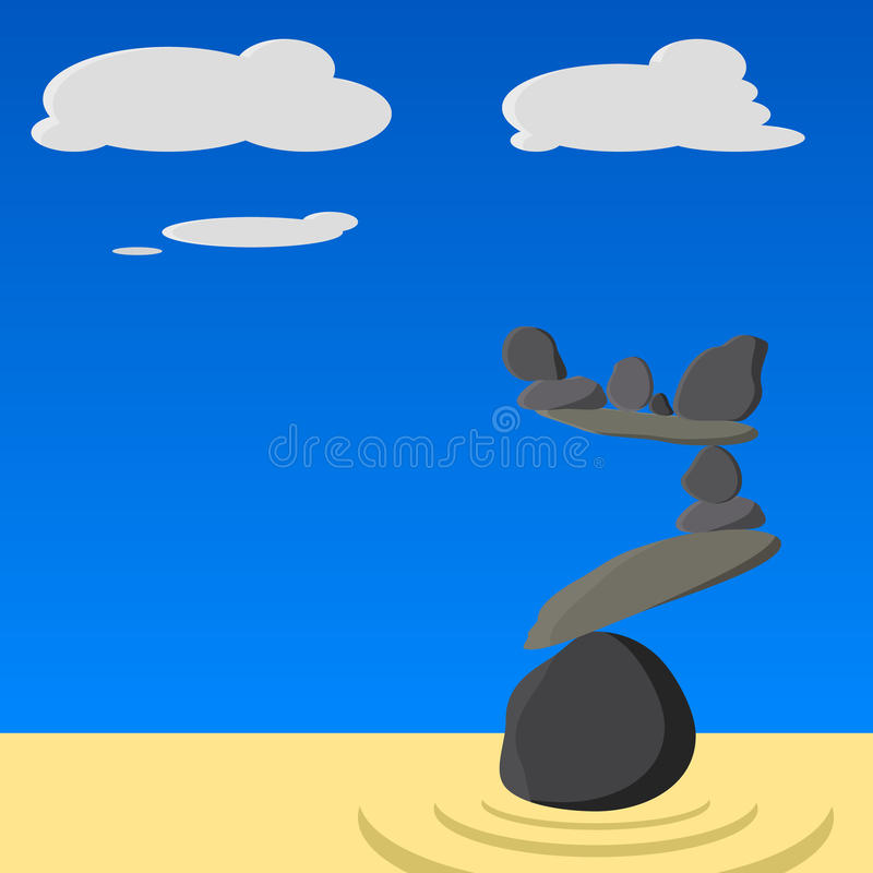 ZEN GARDEN VECTOR royalty free illustration