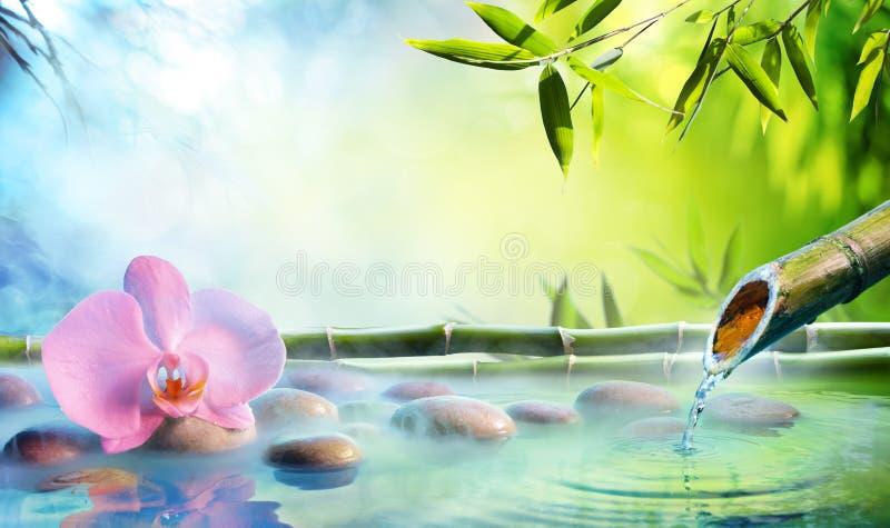 Zen Garden - Orchidee im japanischen Brunnen stockbild