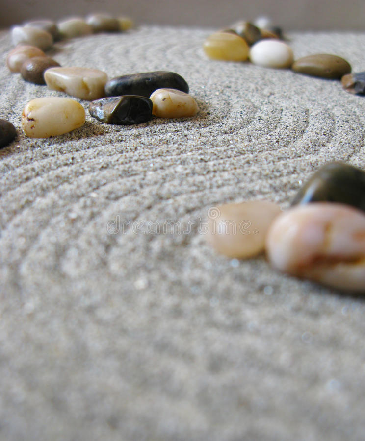 Zen garden path. With curves and stones stock photo