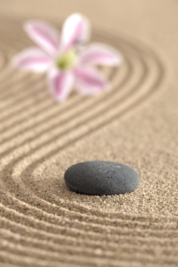 Zen garden in sand royalty free stock images