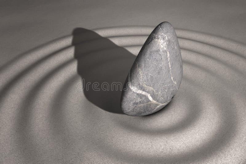 Zen Garden Stones in het zand royalty-vrije stock afbeeldingen