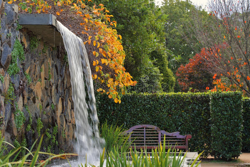 Download Zen Garden With Waterfall In Autumn Stock Photo   Image Of Nature,  Peaceful: