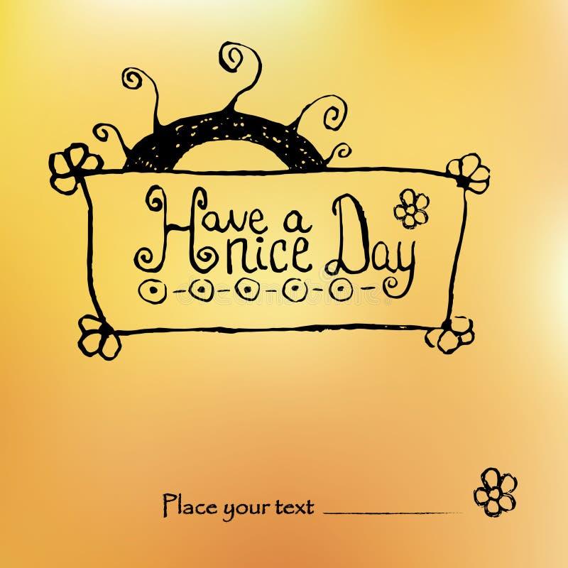 Zen gmatwaniny rysunek z wzorami na żółtym Pogodnym tle i życzyć ładnego dzień pocztówka trójnik koszula ilustracja wektor
