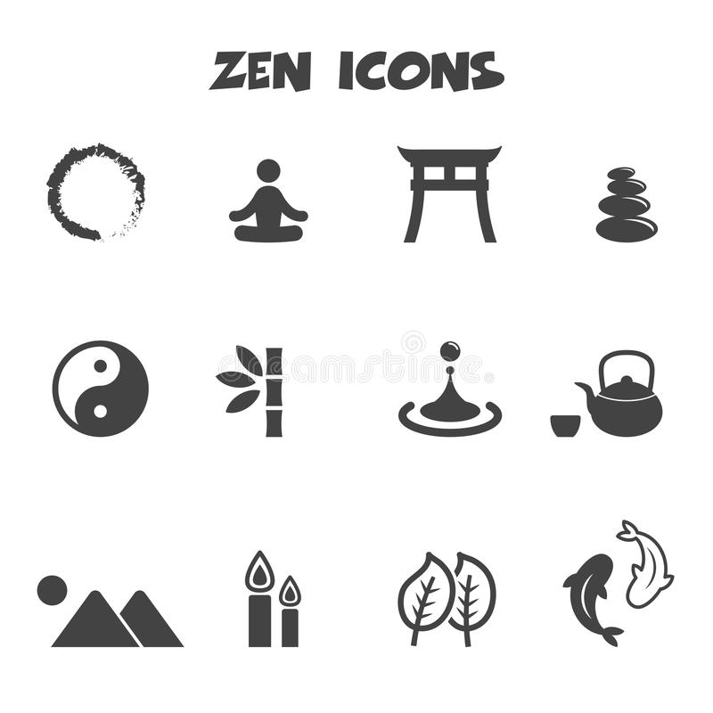 Zen Buddhist Symbols And Meanings: Zen Icons Stock Vector. Illustration Of Mountain, Fish