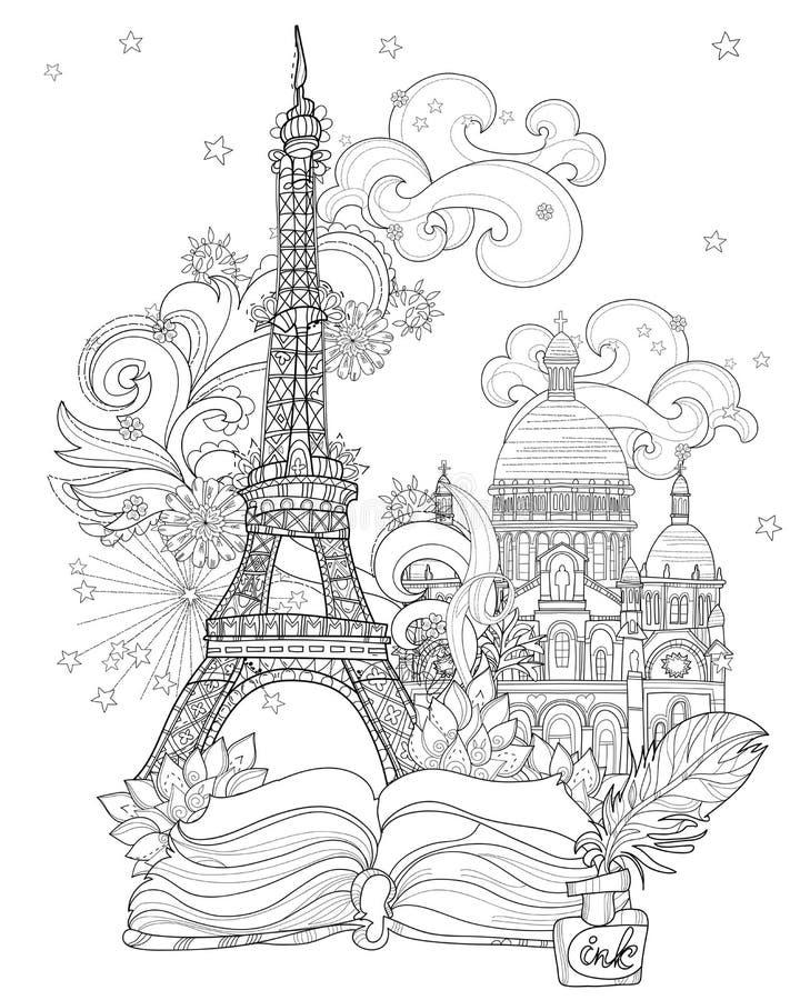 Zen-Kunst stilisiertes Eiffelturmvektorgekritzel vektor abbildung
