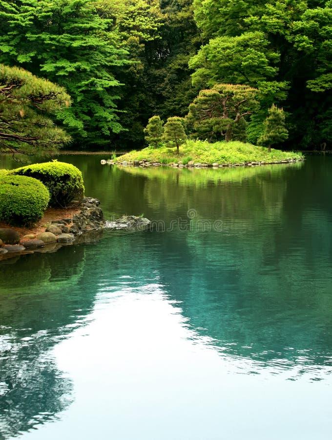 Zen Lake in a Tokyo garden stock images