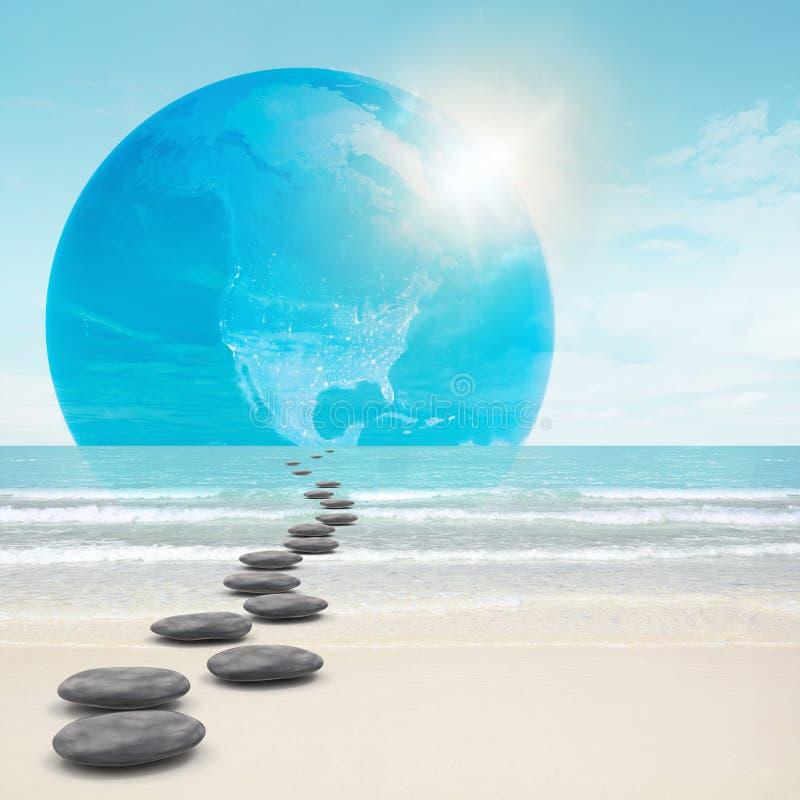 Zen-like stones road to earth vector illustration