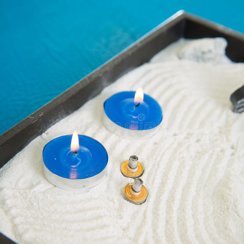 Download Zen Little Garden With Blue Candles And Moxa Stock Photo - Image of closeup, alternative: 29829944