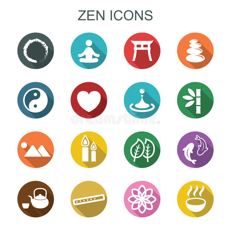 Zen long shadow icons stock illustration