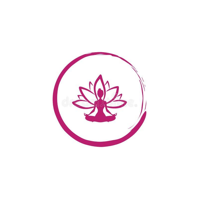 Zen Lotosowy kwiat, kobiety sylwetki joga loga wektor obrazy stock