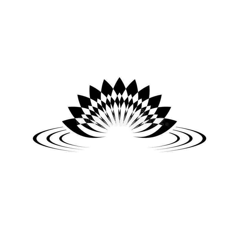 Zen lotus on water icon or logo vector illustration