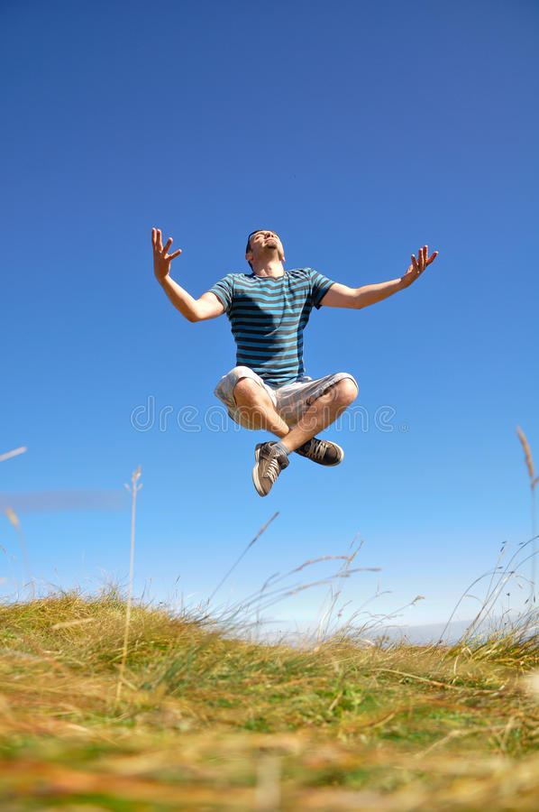 Zen Man Levitation stock photo