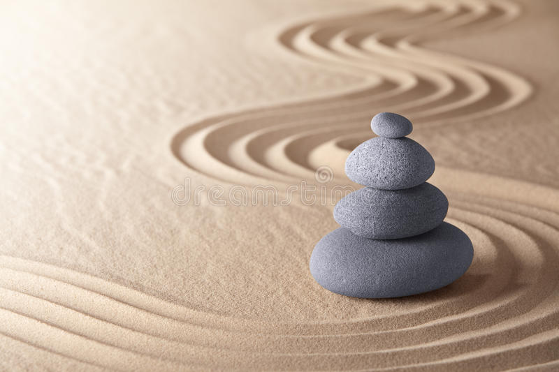 Zen meditation garden balance stones stock photo