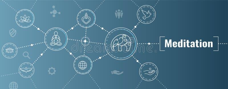 Zen Meditation Mandala Design Symbol-Concept met Swirly-de Banner van de het Webkopbal van Yogaversieringen royalty-vrije illustratie