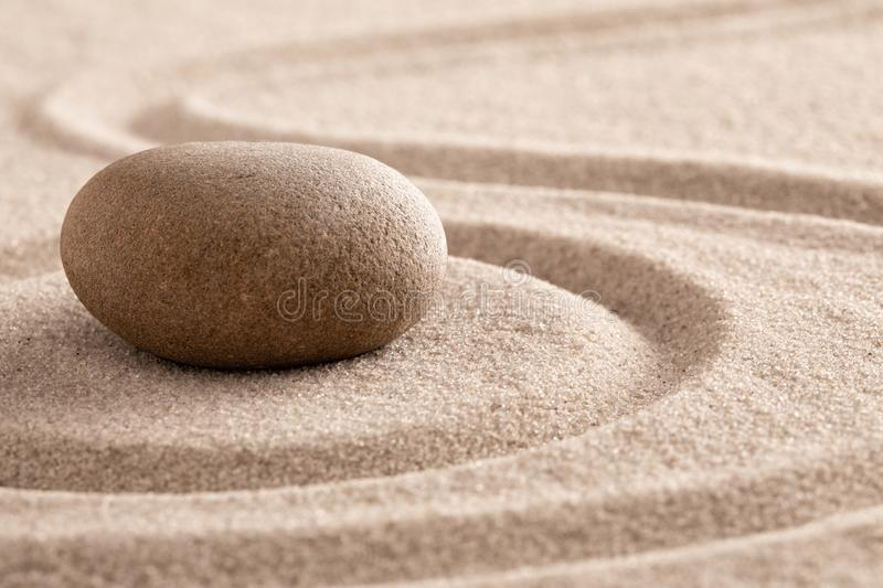 Zen meditation stone and sand garden for mindfulness. Relaxation, harmony balance and spirituality royalty free stock images