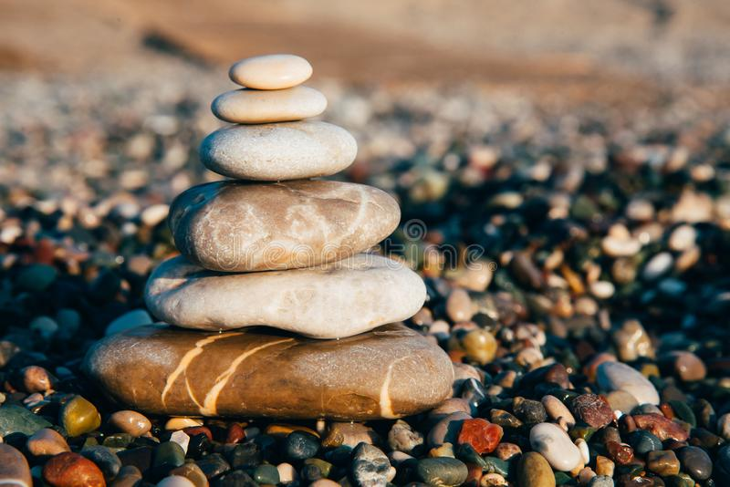 Zen meditation stones on the beach. royalty free stock photos