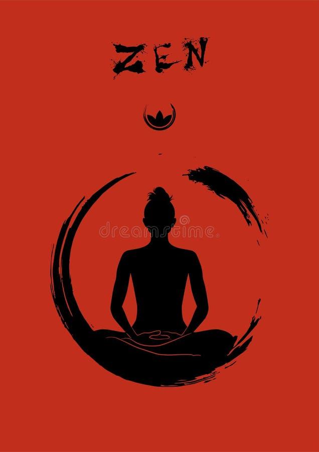Zen medytacja odizolowywająca w czerwonego tła wektorowej grafice fotografia royalty free
