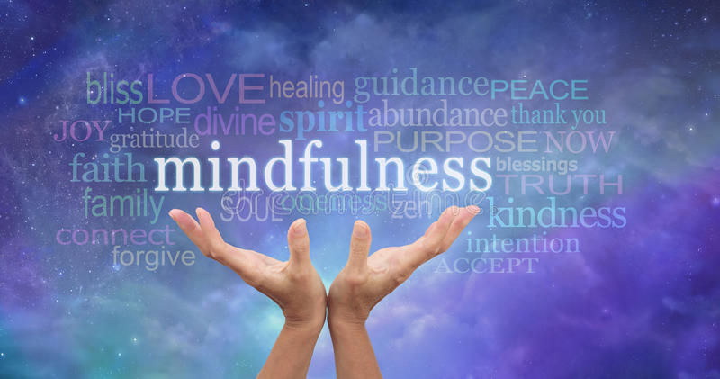 Zen Mindfulness Meditation. Female hands reaching up towards the word 'Mindfulness' floating above surrounded by a relevant word cloud on an ethereal blue night