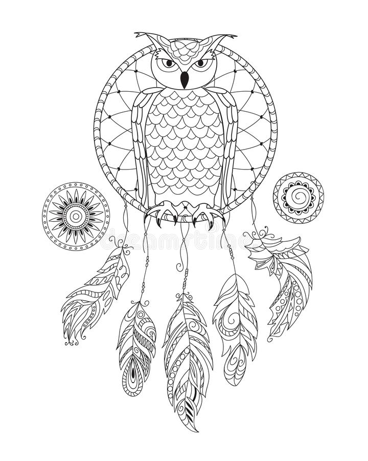 Zen patterned dreamcatcher with owl for adult coloring vector illustration