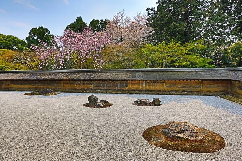 A Zen Rock Garden In Ryoanji Temple.In A Garden Fifteen Stones On White  Gravel.