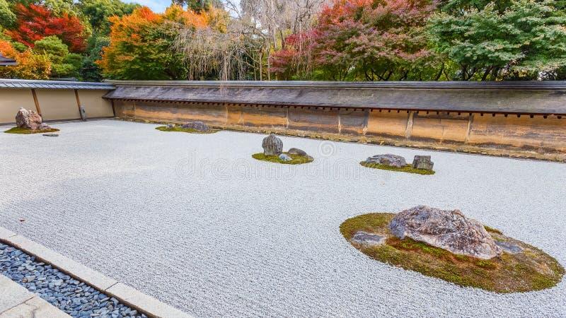 A Zen Rock Garden In Ryoanji Temple In Kyoto Stock Image Image of