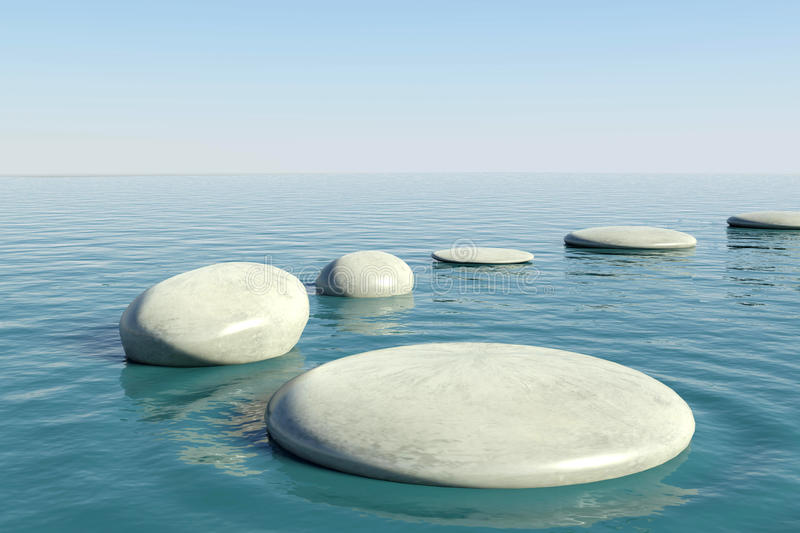 Zen rock pool vector illustration