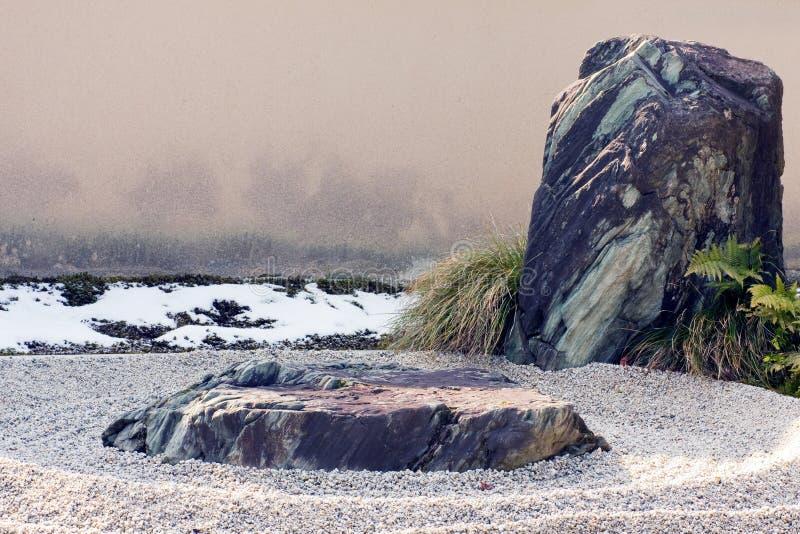 Zen Rock And Raked Gravel Landscape Feature. Stock Image
