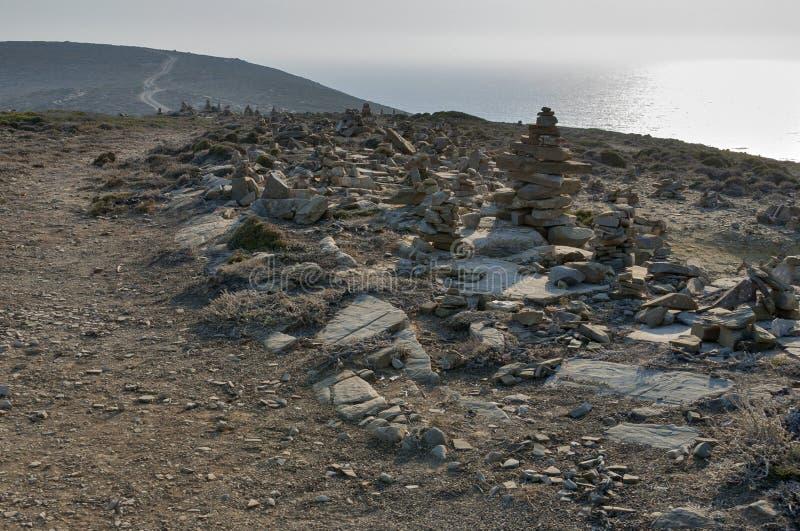 Zen Rock Sculptures, ilha do Rodes imagens de stock royalty free