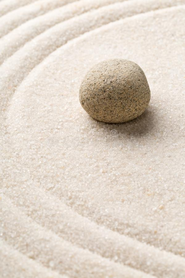 Zen sand and stone garden with raked curved lines. Simplicity, c royalty free stock images