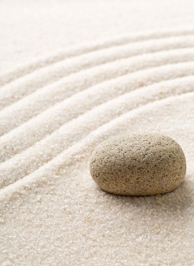 Zen sand and stone garden with raked curved lines. Simplicity, c royalty free stock photos